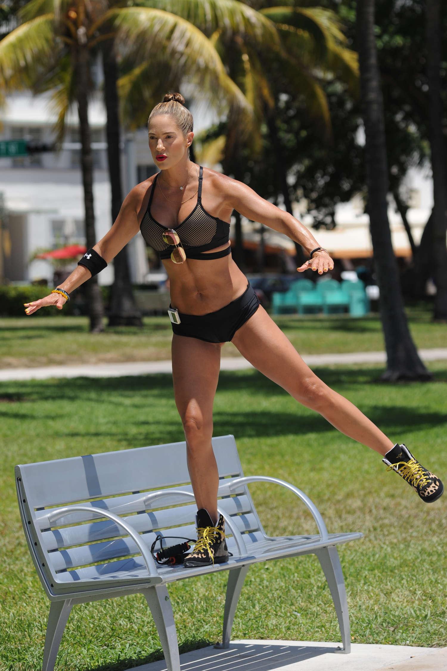 Jennifer Nicole Lee - Training on the beach in Miami