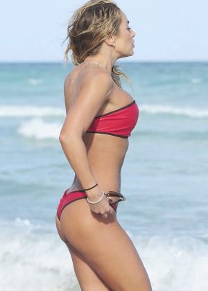 Jennifer Nicole Lee in Red Bikini on Miami Beach