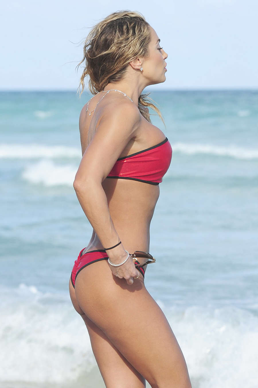 Jennifer Nicole Lee in Red Bikini on Miami Beach