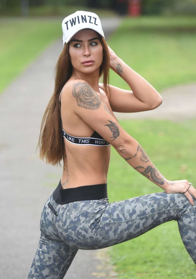 Jennifer Thompson working out in the park in England
