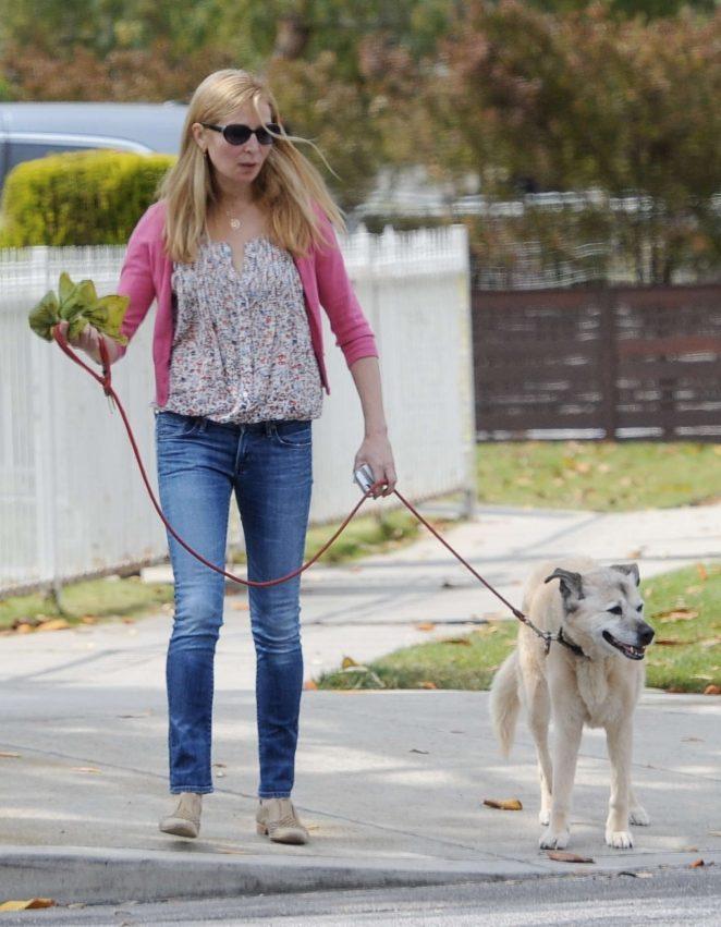 Jennifer Westfeldt walking her dog in LA