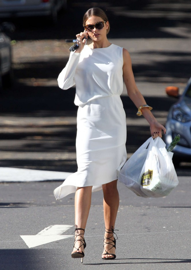 Jesinta Campbell in White Dress Shopping out in Sydney