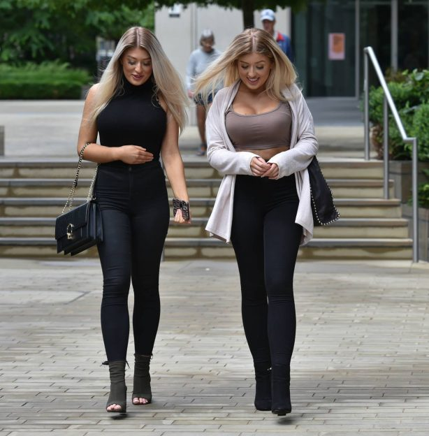 Jess Gale and Eve Gale - Leaving a meeting in London