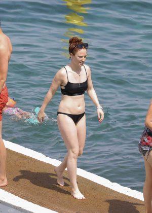 Jess Glynne in Black Bikini in St Jean Cap Ferrat