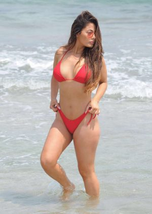 Jess Hayes in Red Bikini at the beach in Ibiza
