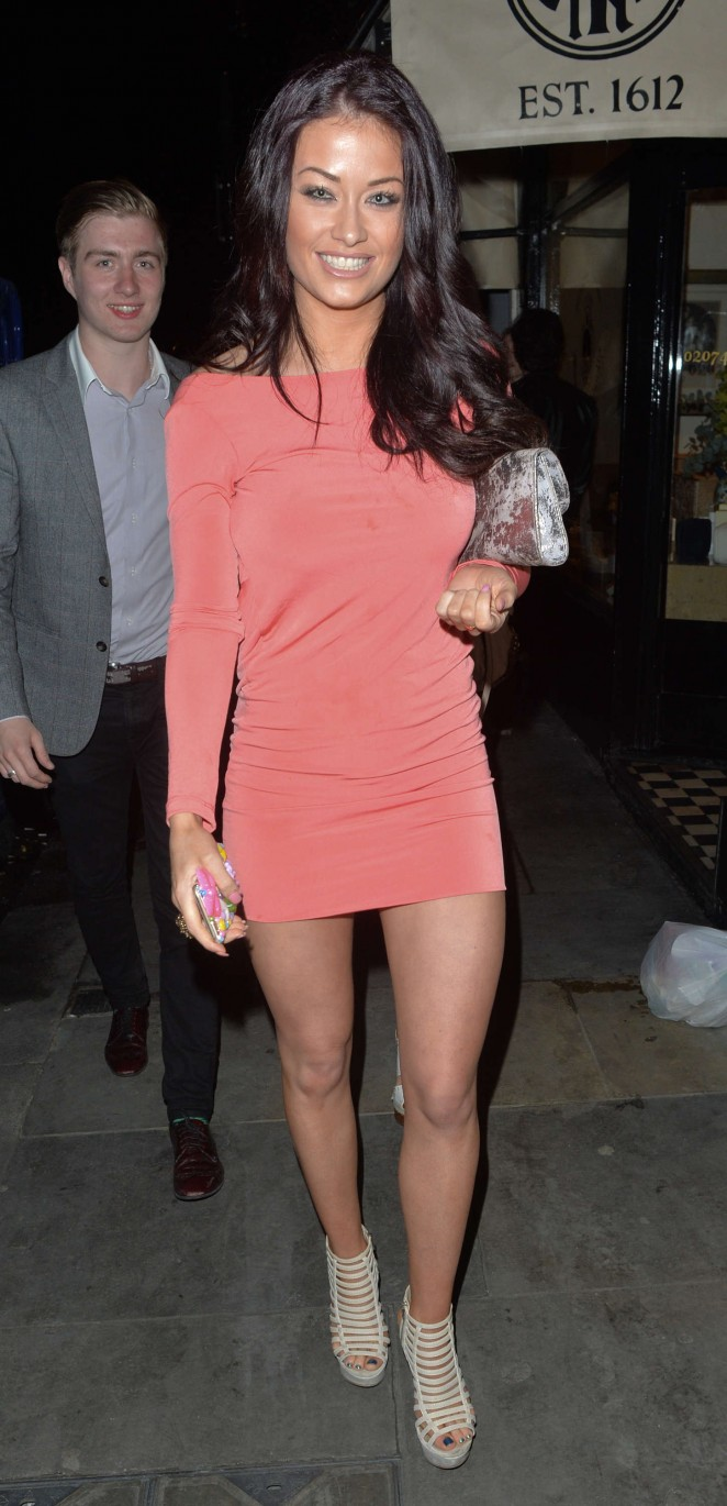 Jess Impiazzi in Mini Dress at Buddha Bar in London