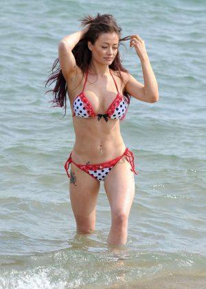 Jess Impiazzi in Bikini on the beach in Spain