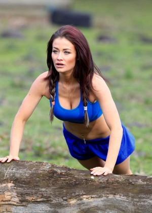 Jess Impiazzi in Blue Shorts and Sports Bra work out in Surrey