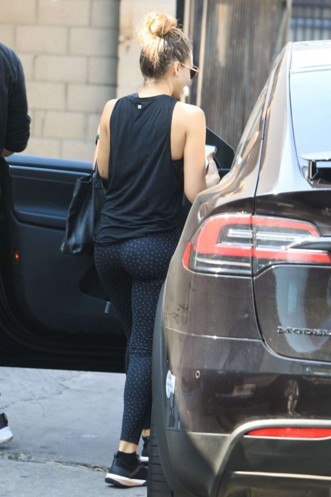 Jessica Alba - All in black outside a gym in West Hollywood