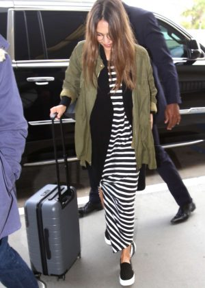 Jessica Alba Arrives at LAX Airport in Los Angeles