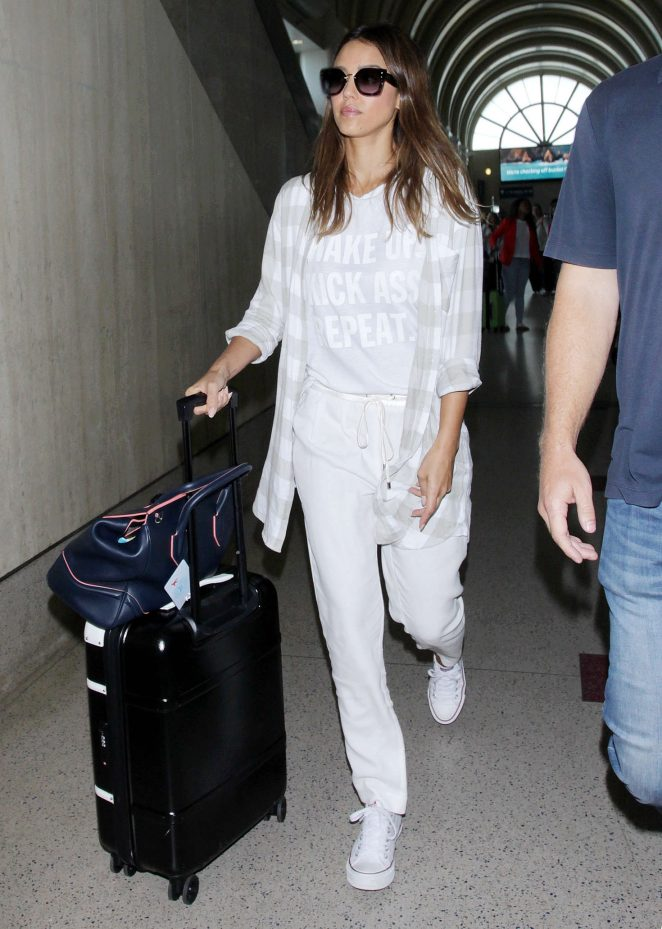 Jessica Alba Arrives at Los Angeles International Airport