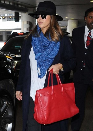 Jessica Alba - Arriving at LAX airport in Los Angeles