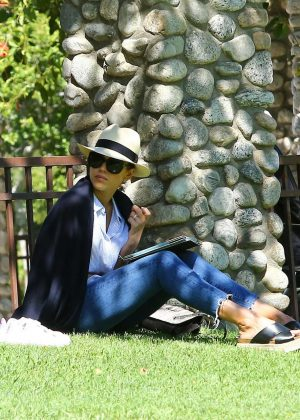 Jessica Alba at a park in Beverly Hills