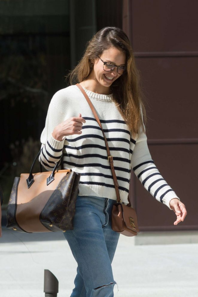 Jessica Alba at an office building in Los Angeles