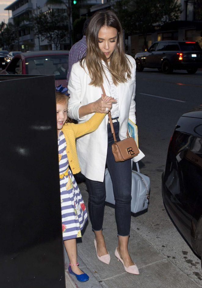 Jessica Alba at Bouchon Restaurant in Beverly Hills