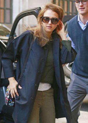 Jessica Alba at her hotel in New York City