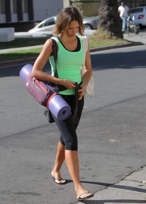 Jessica Alba in Tights at yoga class in LA