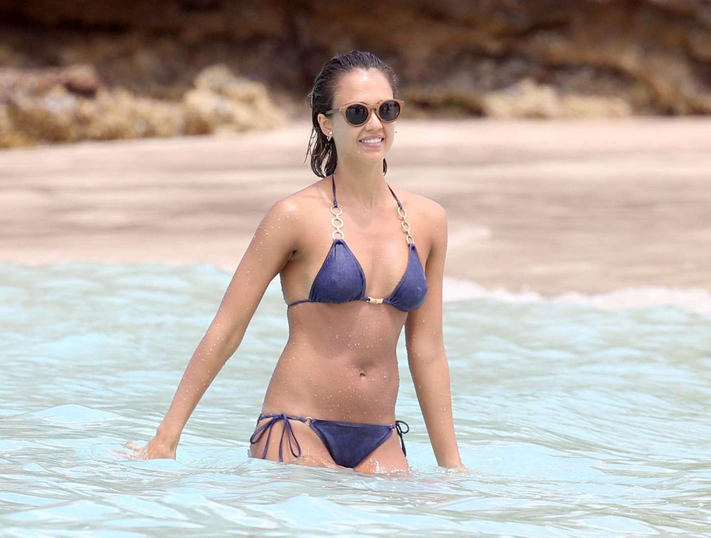 Jessica Alba In Blue Bikini 24 Gotceleb