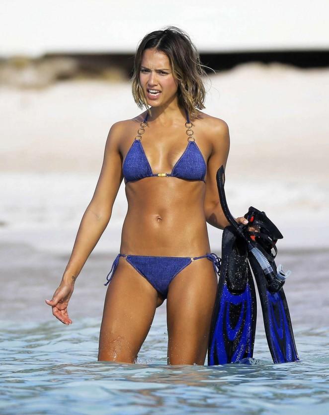 Jessica Alba Blue Bikini 17