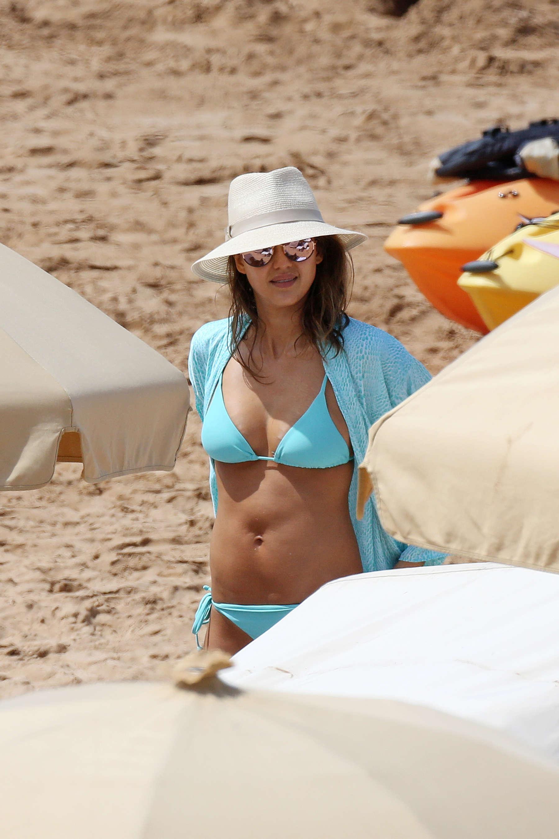 Jessica Alba Blue Bikini 3