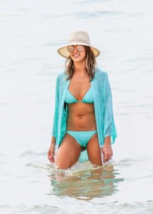 Jessica Alba in Blue Bikini 2016 -17