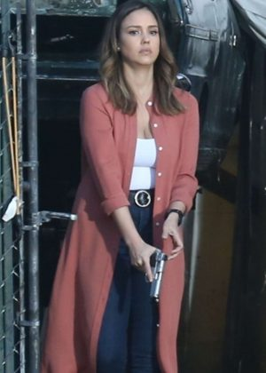 Jessica Alba - Filming the untitled 'Bad Boys' spinoff pilot in Los Angeles