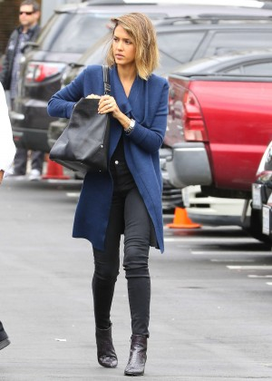 Jessica Alba in Jeans at Hair salon in Beverly Hills