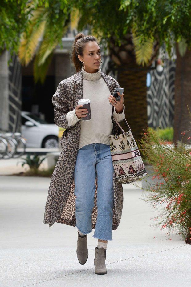 Jessica Alba in Animal Print Coat - Out in LA