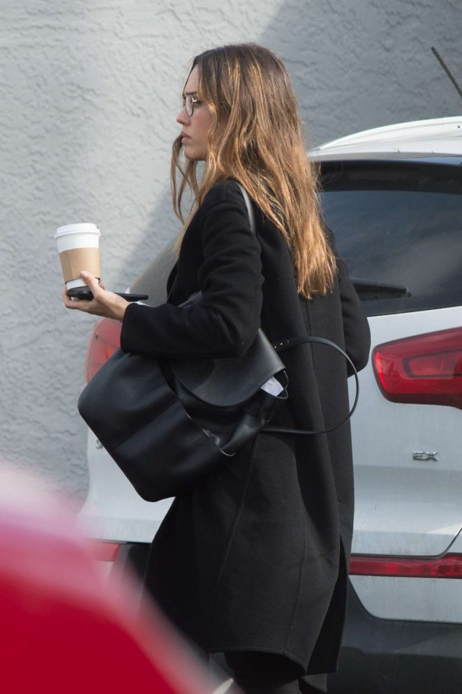 Jessica Alba in Black Coat out in Los Angeles -01