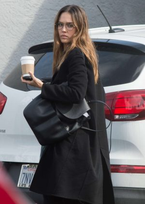 Jessica Alba in Black Coat out in Los Angeles