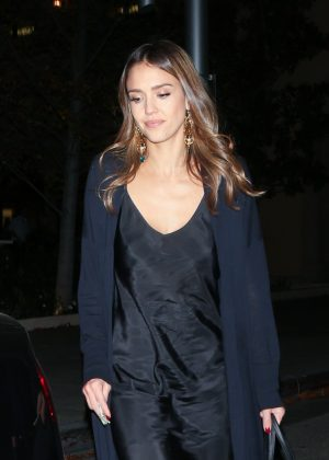 Jessica Alba in Black Dress at Bouchon in Beverly Hills