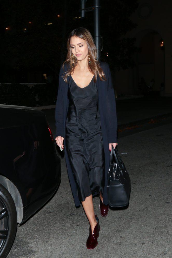Jessica Alba in Black Dress at Bouchon -05