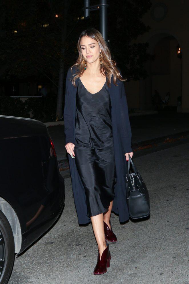 Jessica Alba in Black Dress at Bouchon -07