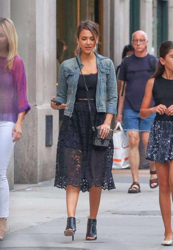 Jessica Alba in Black Dress Out in New York