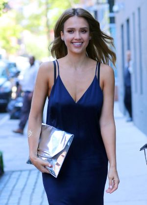 Jessica Alba in Blue Dress Out in New York City