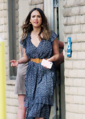 Jessica Alba in Blue Dress - Visits her friends in Santa Monica