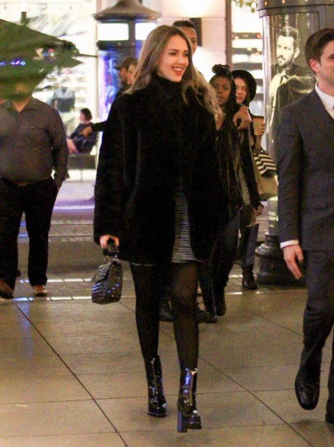 Jessica Alba in Fur Coat out in Los Angeles
