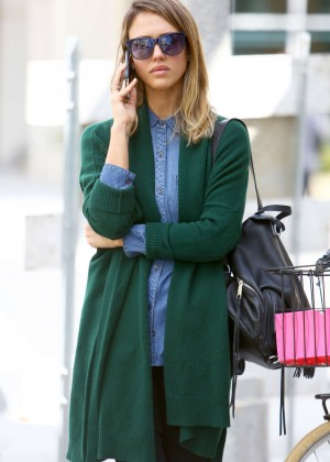 Jessica Alba in Green Sweaters Out in Santa Monica