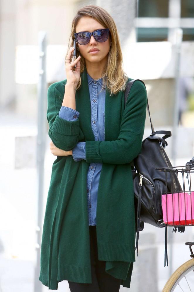 Jessica Alba in Green Sweaters Out in Santa Monica