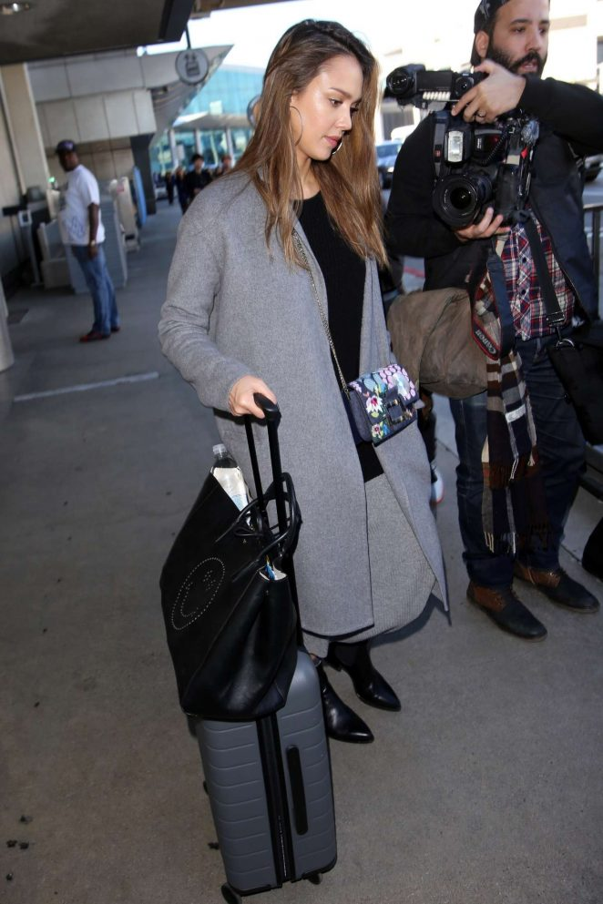 Jessica Alba in Grey Coat at LAX airport in Los Angeles