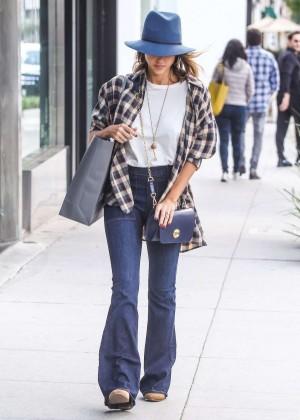 Jessica Alba in Jeans Walking in LA