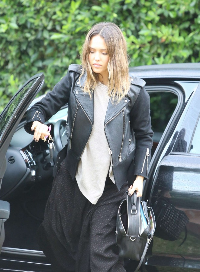 Jessica Alba in leather jacket and long dress out in Beverly Hills