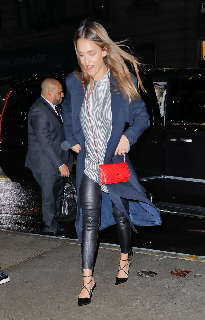 Jessica Alba in Leather Pants night out in New York