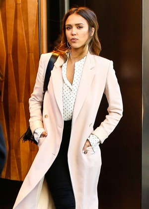 Jessica Alba in Long Coat out in New York