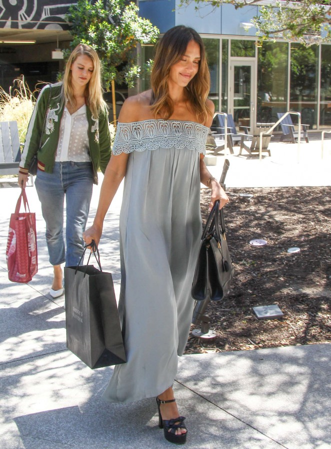 Jessica Alba in Long Dress out shopping in LA