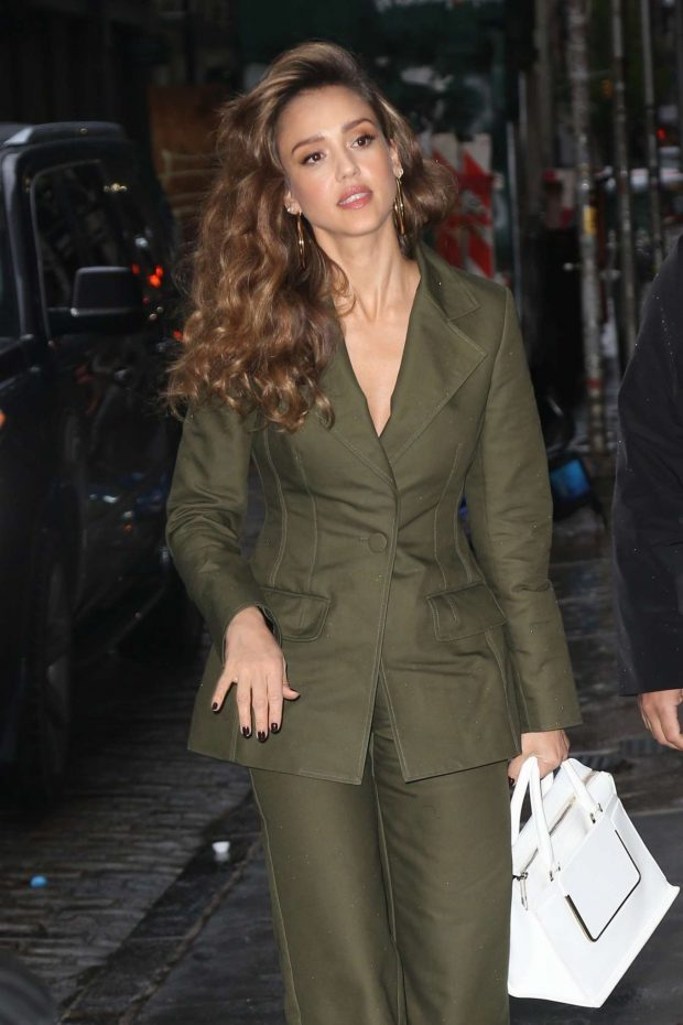 Jessica Alba in Pee Green Suit - Out in New York City