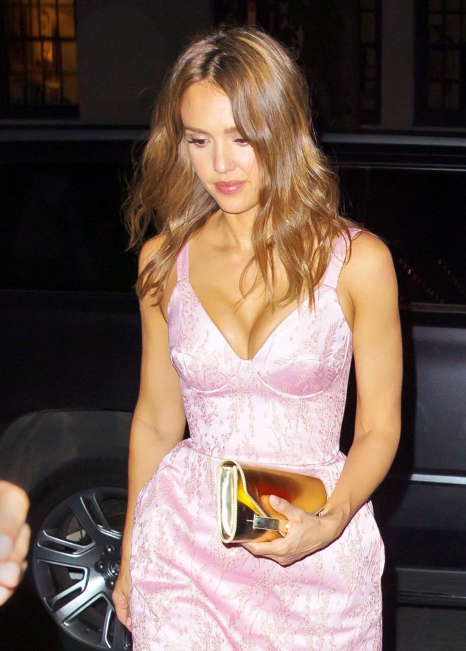 Jessica Alba in Pink Dress nightout in New York City
