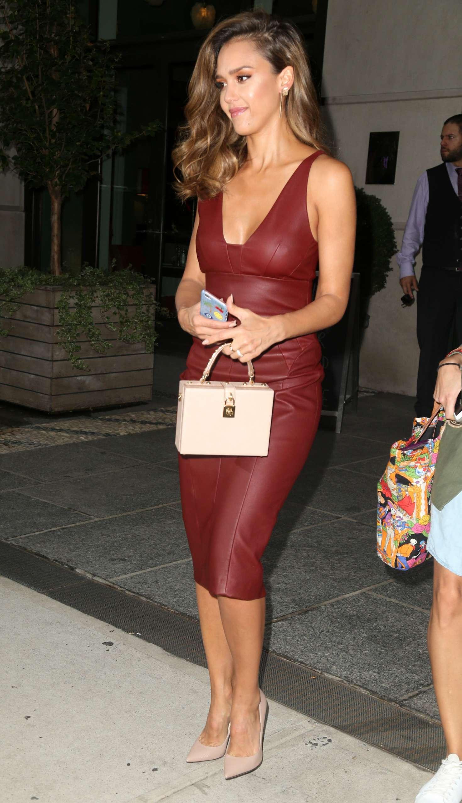 Jessica Alba in Red Leather Dress -08 | GotCeleb