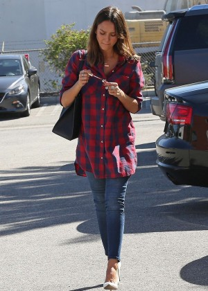 Jessica Alba in Red Shirt and Jeans out in Santa Monica