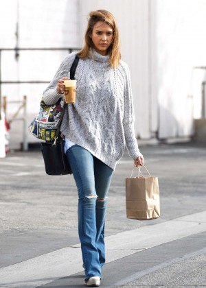 Jessica Alba in Ripped Jeans Out in LA